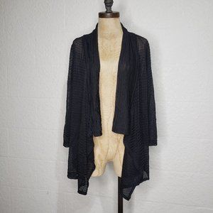 ING Cascading Open Front Black Cardigan XL